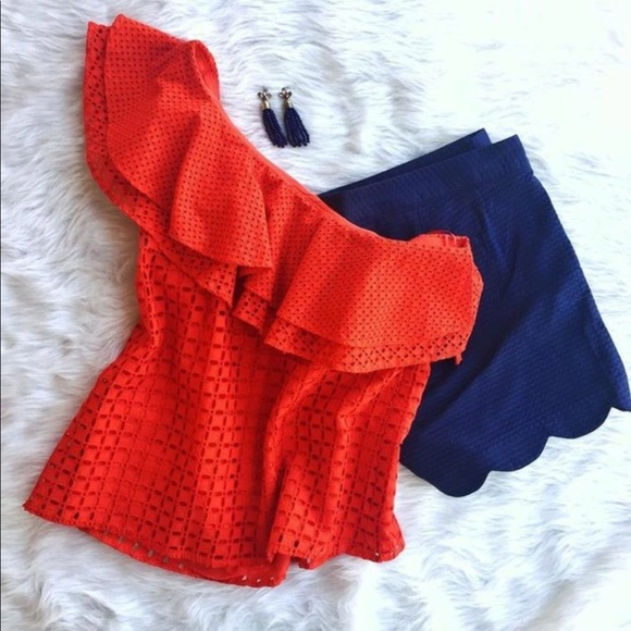bd50d8769a178   J.Crew   Red One shoulder Eyelet Ruffle top